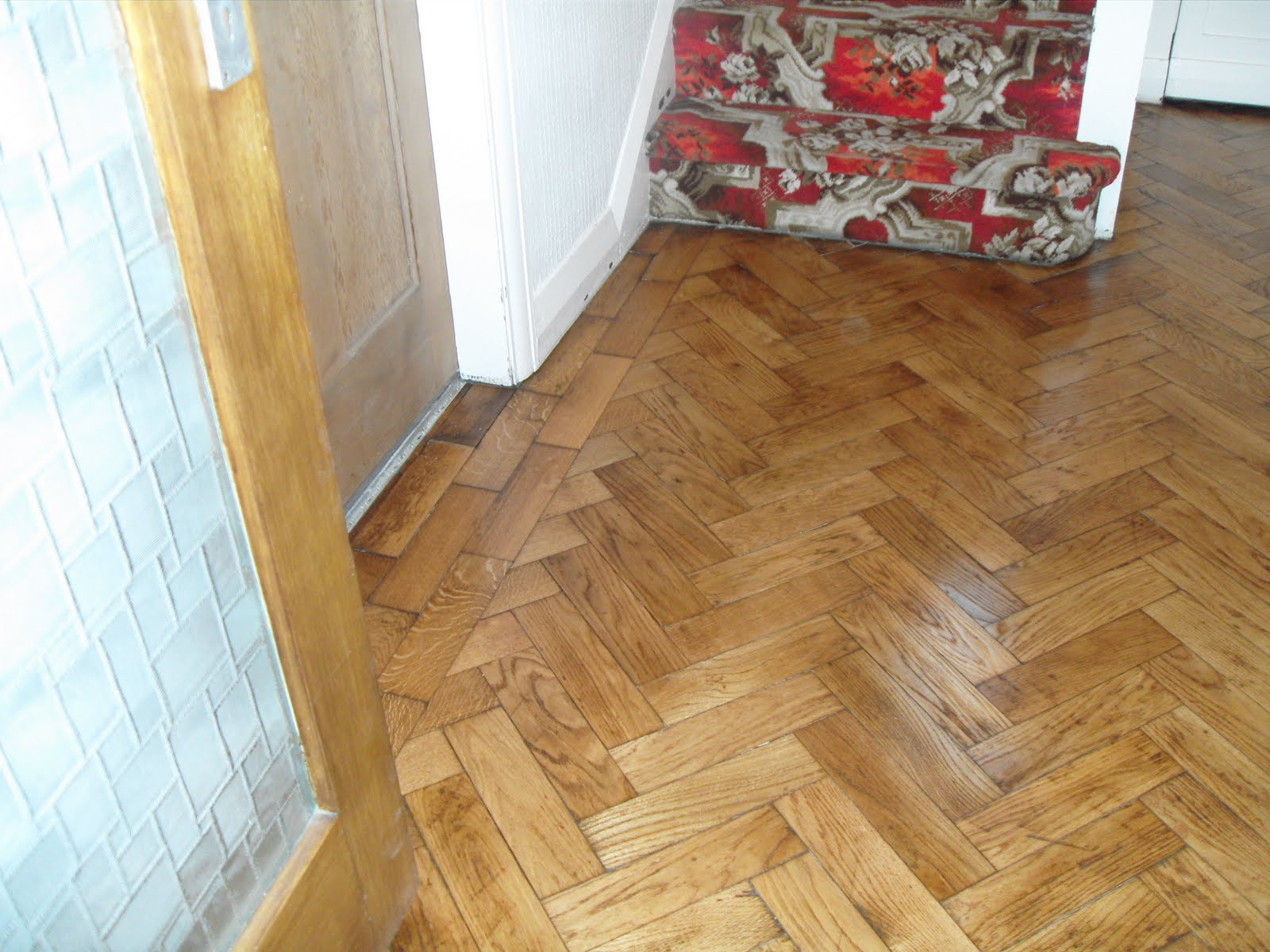 Oak parquet floor sanded and sealed with satin seal for Wooden floor lino